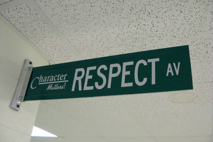 Sign_in_hallway_Respect_August_25,_2008